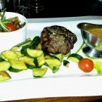 Tender Loin Steak (250g), Zucchini, Finest Mushrooms, Soft Pepper Sauce - Harley Davidson - Clocktower American Bar & Grill - Graz