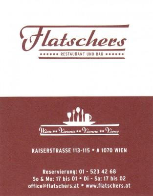 Restaurant Flatschers Visitenkarte Flatschers Wien