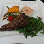 Filet Mignon, princess beans with bacon, western sauce - Harley Davidson - Clocktower American Bar & Grill - Graz
