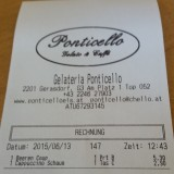 Rechnung - Gelateria Ponticello - G3 Shopping Resort Gerasdorf - Gerasdorf