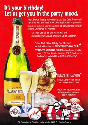 TGI Fridays Geburtstagsaktion Flyer