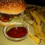 Irish Pub Four Bells Chili Burger with homemade Fries