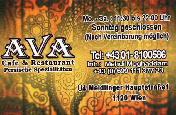 Persisches Restaurant Ava Visitenkarte Ava Wien
