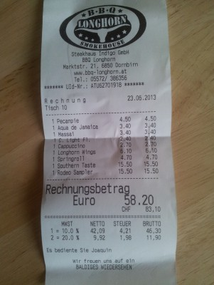 The bill. - BBQ Longhorn Smokehouse - Dornbirn