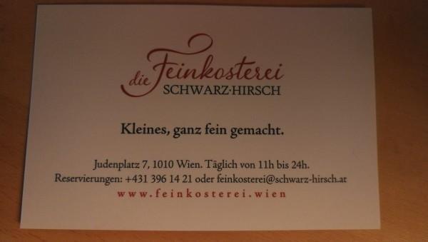 Visitenkarte 03 2019 Feinkosterei Schwarz Hirsch Wien