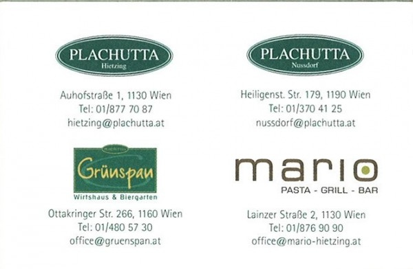Visitenkarte Plachutta Wollzeile Wien Restauranttester At