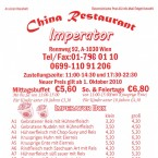 China Restaurant Imperator Flyer Seite 1 - China-Restaurant Imperator - Wien