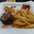 Tender loin steak, steak fries, sweet and hot indian sauce - Harley Davidson - Clocktower American Bar & Grill - Graz