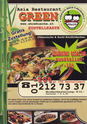 Green 1020 - Flyer-01 - Restaurant Green - Wien