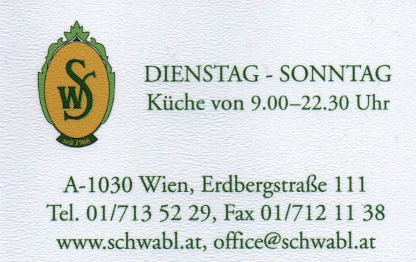 Schwabl Wirt Visitenkarte Schwabl Wirt Wien